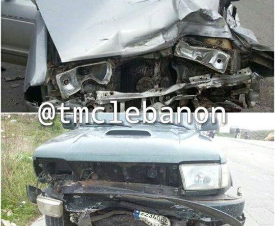 6 جرحى نتيجة تصادم بين مركبتين على طريق عام شكا أميون