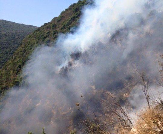 حريق في اجدعبرين الكورة والدفاع المدني يعمل على اخماده