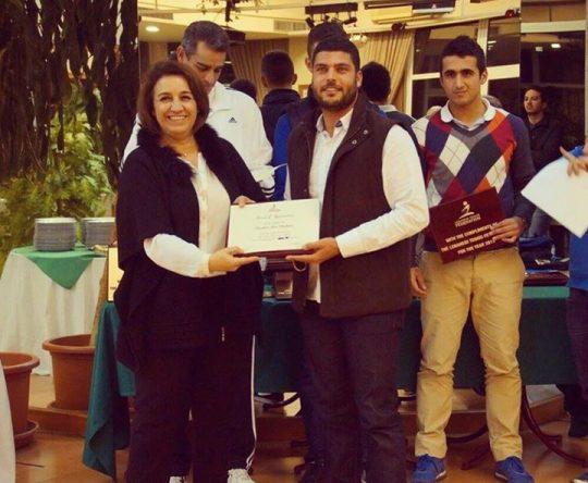 الكورة أميون: جائزة تقدير من الإتحاد اللبناني لكرة المضرب لبطل لبنان ابراهيم أبو شاهين