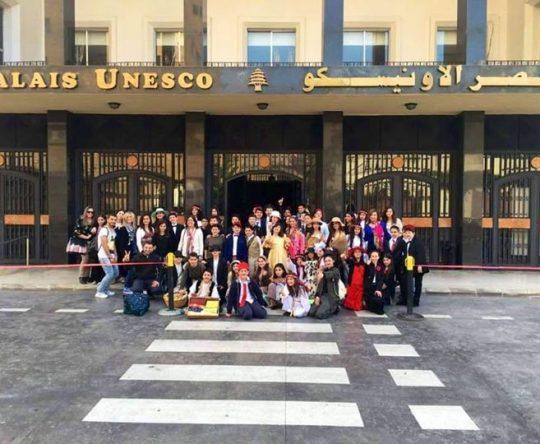 نادي المسرح في ثانوية سيدة البلمند على خشبة مسرح قصر  الأونيسكو في مسرحية استقبال الشخص