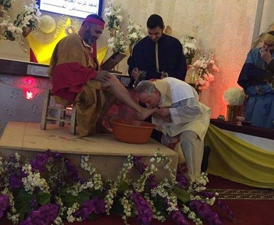 الخميس العظيم: الاحتفال في رتبة الغسل والذبيحة الالهية في رعية مار يوسف كوسبا