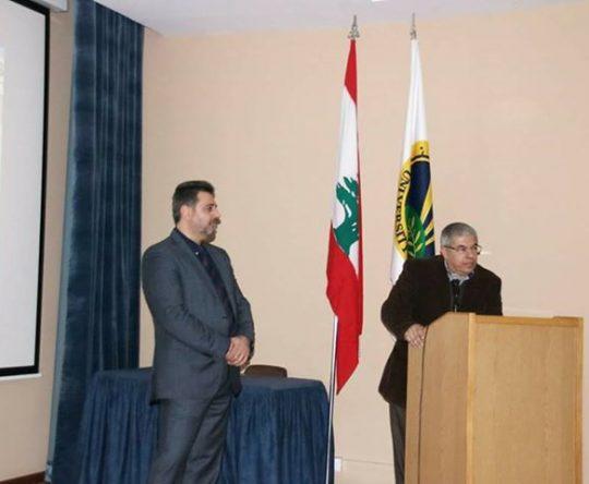 رئيس بلدية بطرام الدكتور هيثم سرحان حاضر في كلية الهندسة في جامعة البلمند