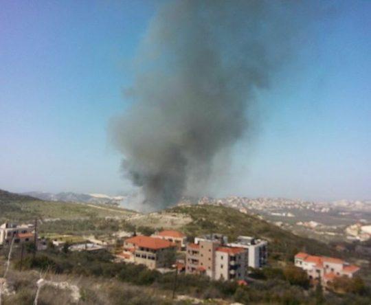 حريق في مكب النفايات بين أميون و دارشمزين
